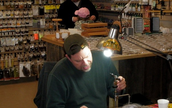 Carl pennington fly tying demo minturn anglers for Denver fly fishing shops