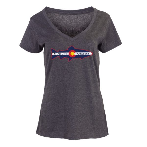 Women's Essential V-Neck Tee with Minturn Anglers Logo