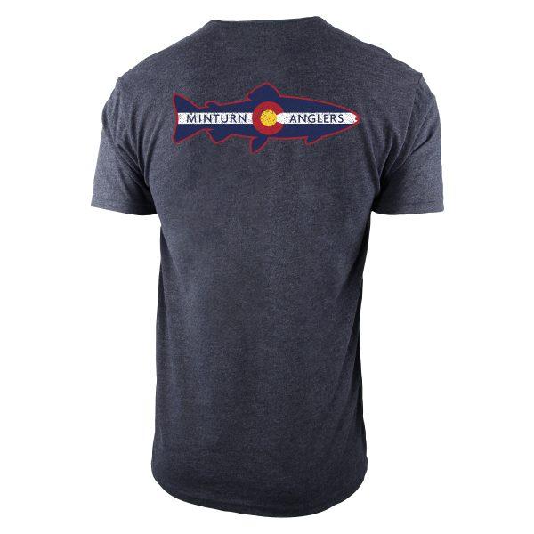 Gray Tee Shirt with Minturn Anglers Logo- Back