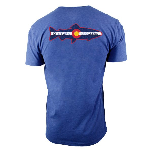 Cool Blue Tee Shirt with Minturn Anglers Logo- Back