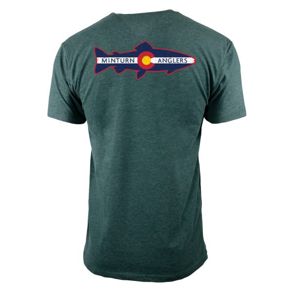 Forest Green Tee Shirt with Minturn Anglers Logo- Back