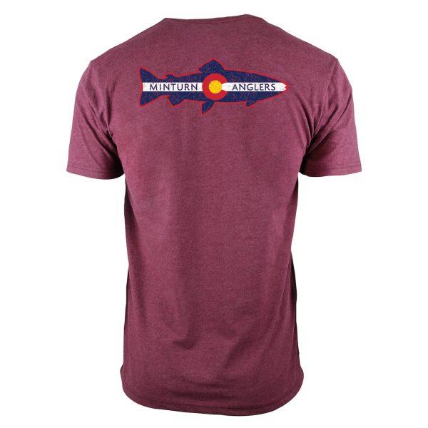 Maroon Tee Shirt with Minturn Anglers Logo- Back